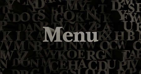 Menu - 3D rendered metallic typeset headline illustration.  Can be used for an online banner ad or a print postcard. Stock Photo