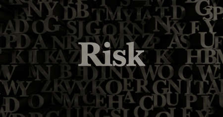 Risk - 3D rendered metallic typeset headline illustration.  Can be used for an online banner ad or a print postcard.
