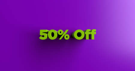 50% Off - 3D rendered colorful headline illustration.  Can be used for an online banner ad or a print postcard.