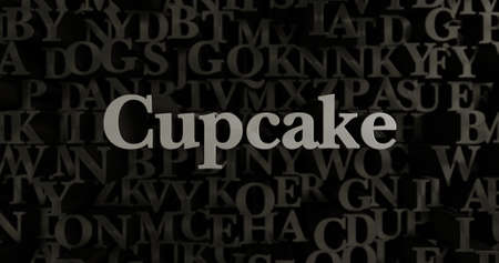 Cupcake - 3D rendered metallic typeset headline illustration.  Can be used for an online banner ad or a print postcard.