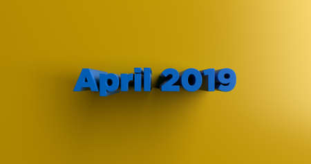 headline: April 2019 - 3D rendered colorful headline illustration.  Can be used for an online banner ad or a print postcard. Stock Photo