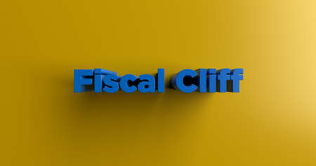 Fiscal Cliff - 3D rendered colorful headline illustration.  Can be used for an online banner ad or a print postcard. Stock Photo