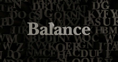 Balance - 3D rendered metallic typeset headline illustration.  Can be used for an online banner ad or a print postcard.