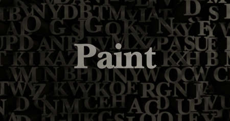 Paint - 3D rendered metallic typeset headline illustration.  Can be used for an online banner ad or a print postcard.