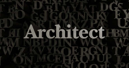 Architect - 3D rendered metallic typeset headline illustration.  Can be used for an online banner ad or a print postcard.