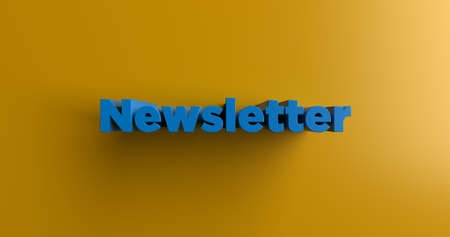 single word: Newsletter - 3D rendered colorful headline illustration.  Can be used for an online banner ad or a print postcard. Stock Photo
