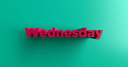 wednesday: Wednesday - 3D rendered colorful headline illustration.  Can be used for an online banner ad or a print postcard. Stock Photo