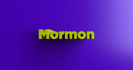 mormon: Mormon - 3D rendered colorful headline illustration.  Can be used for an online banner ad or a print postcard. Stock Photo