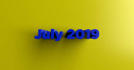 headline: July 2019 - 3D rendered colorful headline illustration.  Can be used for an online banner ad or a print postcard. Stock Photo