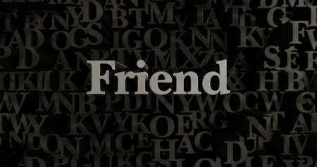 banner ad: Friend - 3D rendered metallic typeset headline illustration.  Can be used for an online banner ad or a print postcard. Stock Photo