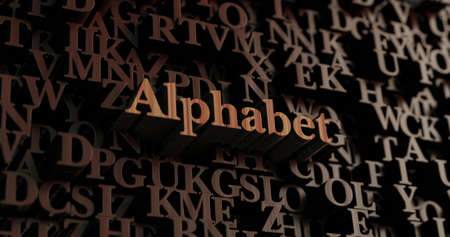 Alphabet - Wooden 3D rendered lettersmessage.  Can be used for an online banner ad or a print postcard.