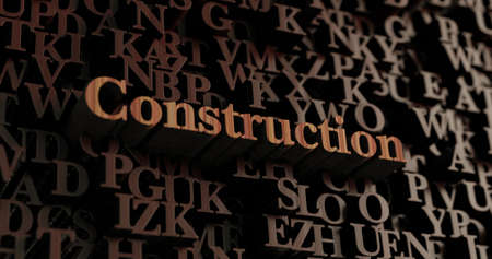 Construction - Wooden 3D rendered lettersmessage.  Can be used for an online banner ad or a print postcard.