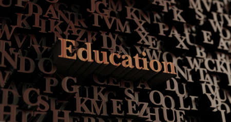 Education - Wooden 3D rendered lettersmessage.  Can be used for an online banner ad or a print postcard.