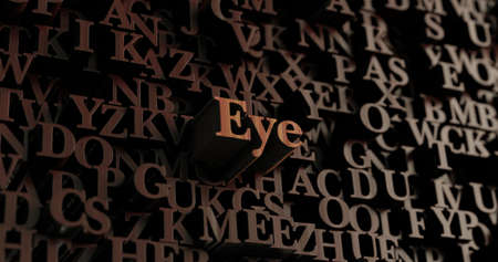 Eye - Wooden 3D rendered lettersmessage.  Can be used for an online banner ad or a print postcard.
