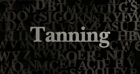 tanning: Tanning - 3D rendered metallic typeset headline illustration.  Can be used for an online banner ad or a print postcard.