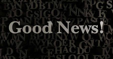 Good News! - 3D rendered metallic typeset headline illustration.  Can be used for an online banner ad or a print postcard.