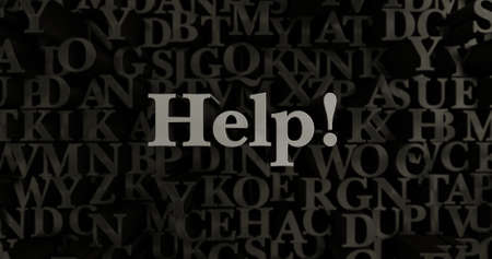 Help! - 3D rendered metallic typeset headline illustration.  Can be used for an online banner ad or a print postcard.