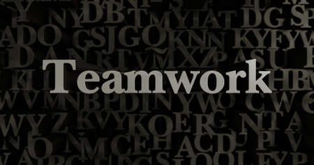 Teamwork - 3D rendered metallic typeset headline illustration.  Can be used for an online banner ad or a print postcard.