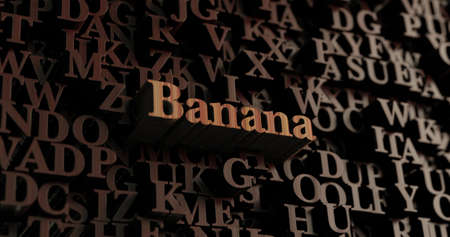 Banana - Wooden 3D rendered lettersmessage.  Can be used for an online banner ad or a print postcard.