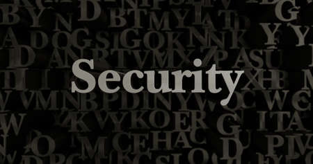 banner ad: Security - 3D rendered metallic typeset headline illustration.  Can be used for an online banner ad or a print postcard.