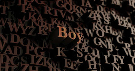 Boy - Wooden 3D rendered lettersmessage.  Can be used for an online banner ad or a print postcard.