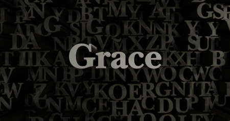 Grace - 3D rendered metallic typeset headline illustration.  Can be used for an online banner ad or a print postcard.