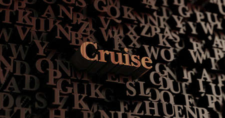 Cruise - Wooden 3D rendered lettersmessage.  Can be used for an online banner ad or a print postcard. Stock Photo