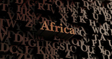 Africa - Wooden 3D rendered lettersmessage.  Can be used for an online banner ad or a print postcard. Stock Photo