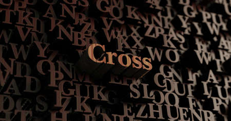 Cross - Wooden 3D rendered lettersmessage.  Can be used for an online banner ad or a print postcard.