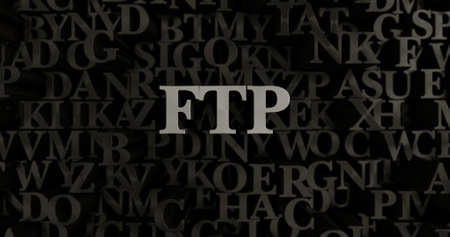 FTP - 3D rendered metallic typeset headline illustration.  Can be used for an online banner ad or a print postcard.