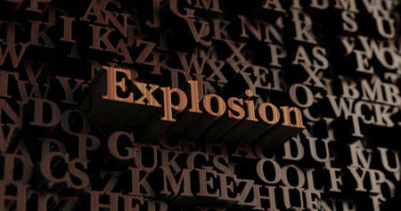 Explosion - Wooden 3D rendered lettersmessage.  Can be used for an online banner ad or a print postcard. Stock Photo