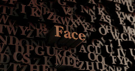Face - Wooden 3D rendered lettersmessage.  Can be used for an online banner ad or a print postcard.