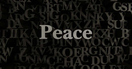 Peace - 3D rendered metallic typeset headline illustration.  Can be used for an online banner ad or a print postcard.