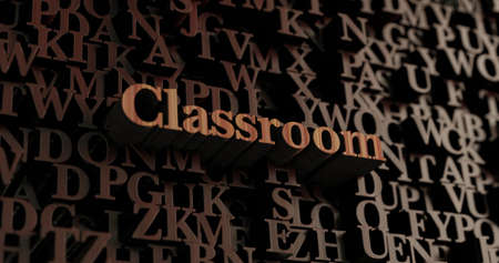 Classroom - Wooden 3D rendered lettersmessage.  Can be used for an online banner ad or a print postcard.
