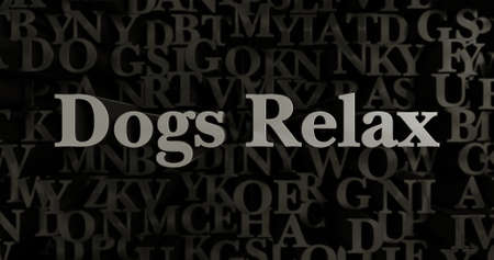Dogs Relax - 3D rendered metallic typeset headline illustration.  Can be used for an online banner ad or a print postcard.