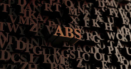 abs: ABS - Wooden 3D rendered lettersmessage.  Can be used for an online banner ad or a print postcard.
