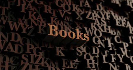 single word: Books - Wooden 3D rendered lettersmessage.  Can be used for an online banner ad or a print postcard.