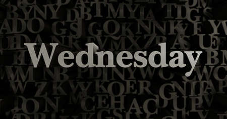Wednesday - 3D rendered metallic typeset headline illustration.  Can be used for an online banner ad or a print postcard.