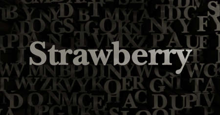 Strawberry - 3D rendered metallic typeset headline illustration.  Can be used for an online banner ad or a print postcard.