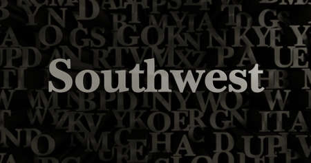 southwest: Southwest - 3D rendered metallic typeset headline illustration.  Can be used for an online banner ad or a print postcard. Stock Photo