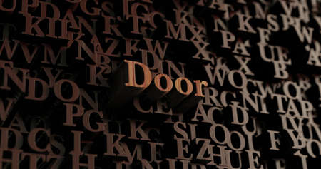 Door - Wooden 3D rendered lettersmessage.  Can be used for an online banner ad or a print postcard.