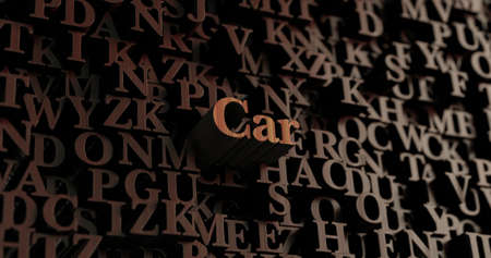 Car - Wooden 3D rendered lettersmessage.  Can be used for an online banner ad or a print postcard.