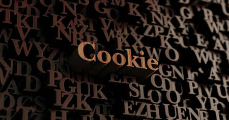 Cookie - Wooden 3D rendered lettersmessage.  Can be used for an online banner ad or a print postcard. Stock Photo