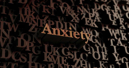 Anxiety - Wooden 3D rendered lettersmessage.  Can be used for an online banner ad or a print postcard. Stock Photo