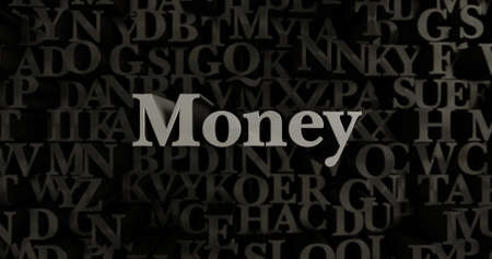 Money - 3D rendered metallic typeset headline illustration.  Can be used for an online banner ad or a print postcard.