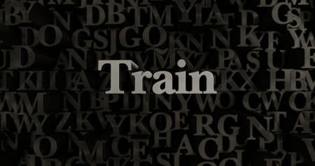 Train - 3D rendered metallic typeset headline illustration.  Can be used for an online banner ad or a print postcard.