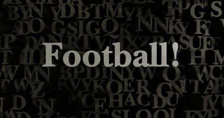 Piłka nożna! - 3D renderowane ilustracja nagłówek metaliczny przygotowana. Może być wykorzystany do baneru internetowego lub pocztówki drukowanej. Zdjęcie Seryjne