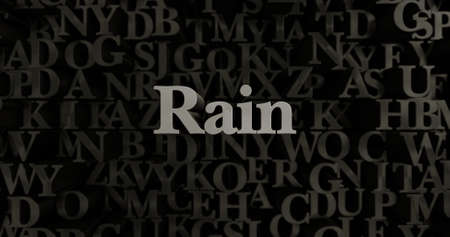 Rain - 3D rendered metallic typeset headline illustration.  Can be used for an online banner ad or a print postcard.