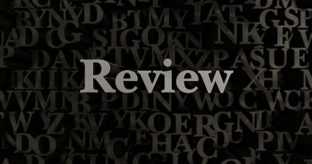 literature: Review - 3D rendered metallic typeset headline illustration.  Can be used for an online banner ad or a print postcard.