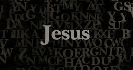 Jesus - 3D rendered metallic typeset headline illustration.  Can be used for an online banner ad or a print postcard. Stock Photo